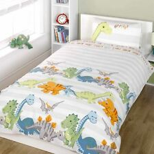 DINOSAURS SINGLE DUVET COVER & PILLOWCASE SET BOYS BEDDING NEW NATURAL