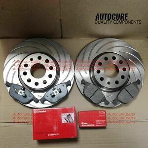 FOR TOYOTA AYGO 1.0 05-15 FRONT GROOVED SLOTTED DISCS & BREMBO PADS OE