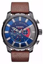 Diesel Mens DZ4366 Stronghold Gunmetal Dark Brown Leather Chronograph Watch $240