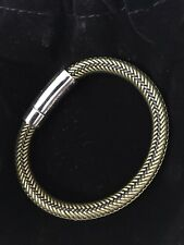 Men's Jewelry Woven Leather Bracelet With Stainless Steel Accents, Black/Yellow