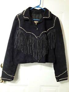 VTG Chasser Womens L Black Suede Leather Fringe Crop Western Snap Jacket Studs