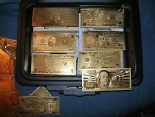 SET 7 24kt 99.9% GOLD FOIL $1-2-5-10-20-50-100 US Dollar Bill Banknote LOW PRICE