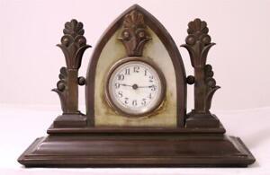 Antique Art Deco American Mantel Clock Cast Bronze c.1920s