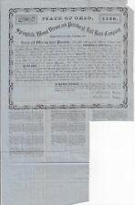 OHIO 1855 Springfield Mount Vernon & Pittsburgh Rail Road Stock Certificate #82