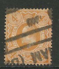 GB 1909 - 11 KEV11 4d Brt Orange used stamp. ( E201 )