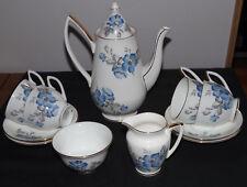 RARE c1950s TAYLOR & KENT BONE CHINA BLUE CORNFLOWER 11 PIECE COFFEE SET #1270