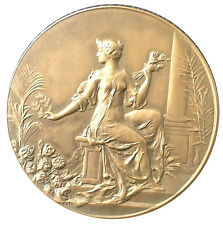 BRONZE ART- NOUVEAU MEDAL, WOMAN WITH FLOWERS / M71