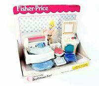 Vintage 1999 Fisher Price Loving Family Dollhouse BATHTIME FUN BATHROOM BATH Set