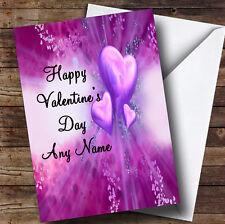 Corazones PÚRPURA Romántica Personalizada De San Valentín tarjeta de saludos