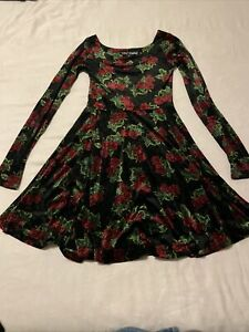 Betsey Johnson Vintage 80s crushed velvet skater dress With Roses 🌹Size S