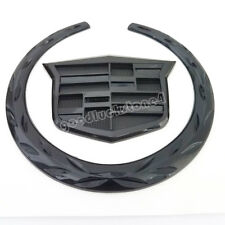 "Rear Tailgate Black Wreath Crest Truck 4"" 3D Emblem Badge Sticker for Cadillac"