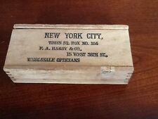 Wood Dove Tail Opticians Box Mailer Nyc Times Square F.A Hardy & Co. (Rare Box)