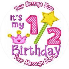 "GIRL HALF BIRTHDAY 6 MONTHS OLD 7.5"" ROUND ICING CAKE TOPPER"