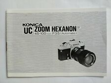 Konica UC Zoom Hexanon AR 45-100mm f/3.5 (Automatic) lens tech info booklet