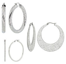 S.Michael Designs Stainless Steel Set of Three Fashion Hoop Earrings