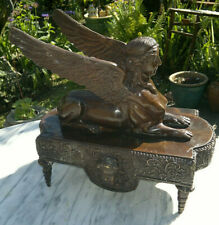 """Large Antique French Bronze Winged Sphinx Goddess ~12""""Tall ~ 6.2Kilos"""
