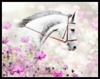 Horse in Flowers - Chart Counted Cross Stitch Pattern Needlework Xstitch craft