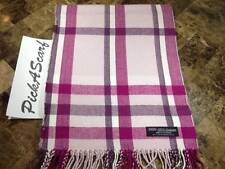 100% CASHMERE Warm Wool Scarf Pink SCOTLAND B93 Men Women Loop Plaid Infinity