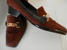 AMALFI RANGONI Pumps Brown CASHMERE Animal Print Patent Shoes narrow Size 9 AAA