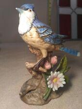 Vintage Homco Porcelain Blue Jay #1445 Hand Painted Bisque Bird Figurine