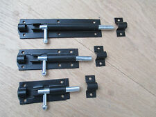 HEAVY DUTY GARDEN GATE SHED SLIDING DOOR TOWER BOLT BLACK LATCH CATCH