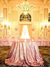 """1 Pcs Rose Gold 108"""" Round  And 1 Pcs Black 108"""" Round Sequin Tablecloth"""