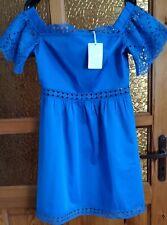 Ted Baker Loulah Geo Lace Bardot Dress, Bright Blue Size 3/UK 12/US8.