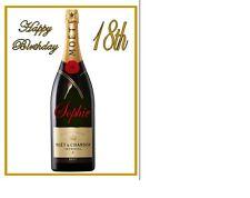 """Personalizzata Bottiglia di Champagne foglio di glassa a4 10""""x8"""" cake topper Nome su BOTTIGLIA"""