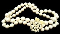 """Rare Vintage 16"""" Signed Miriam Haskell Heavy Faux Pearl Bead Clasp Necklace A23"""