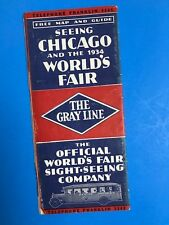Chicago 1934 World's Fair Gray Line Tour Map and Guide
