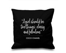 Coco Chanel Quote Cushion Cover Coco Chanel Classy And Fabulous