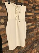 White Missguided Strapless Lace Up Dress AU12