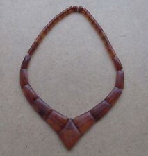 Genuine Baltic Amber Old necklace beads Rare stone pendant natural vintage 28 g.