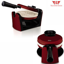 Waffle Maker Belgian Breakfast Kitchen Commercial Double Waring Iron Heavy Red