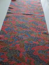 Vintage Kimono Quilt Silk Fabric Red Brown House Art Pic 107cm #252