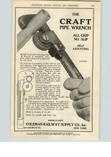 1922 Paper Ad Craft Self Adjusting Pipe Wrench Coleman Railway Supply Co NY