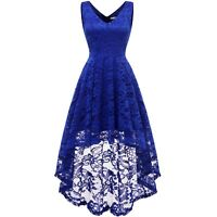 Women Sleeveless Hi-Lo Floral Lace Dress V Neck Wedding Cocktail Party Prom