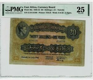 Superb Rare 1938-1942 East Africa 20 Shillings = 1 pound Nairobi in PMG 25