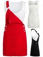 Womens Denim Dress Stretch Sleeveless Dungaree Dresses Size 8 10 12 14 Red Black
