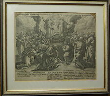 Jan Sadeler, Marten de Vos, Christi Himmelfahrt, Kupferstich um 1600, gerahmt