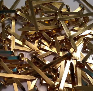 40mm Paper Fasteners - Strong Brass Metal Steel