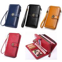 Lady Women RFID Cash ID Card Holder Leather Clutch Zip Wallet Long Money Purse