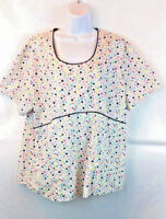 SB Scrubs Women's White Floral Scrub Top 2-Pockets Short Sleeve Size XL