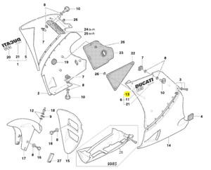 New OEM Ducati Left Ducati 998 Graphic #43812421A