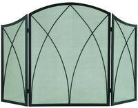 Arched Fireplace Screen 3 Panel 48 X 30 in. Heavy Duty Steel Black Finish NEW