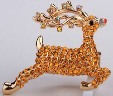 Santa's Gold Reindeer Deer Stretch Ring Crystal Rhinestone Animal Jewelry RA07