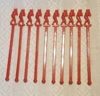 "6"" Vintage 1960 Plastic Red Baseball Player Swizzle Sticks LOT of 10"