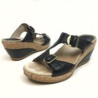 Dansko Women's Black Leather Open Toe Sandals Sz EU 40 US 9.5 - 10 Buckle Wedge