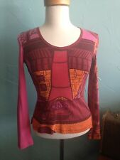 CUSTO BARCELONA Top Pink Red Orange Knit Shirt Top Size XS