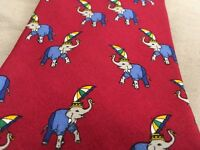Brooks Brothers 100% Silk Neck Tie Elephant Umbrella Pattern Red Made In USA VTG